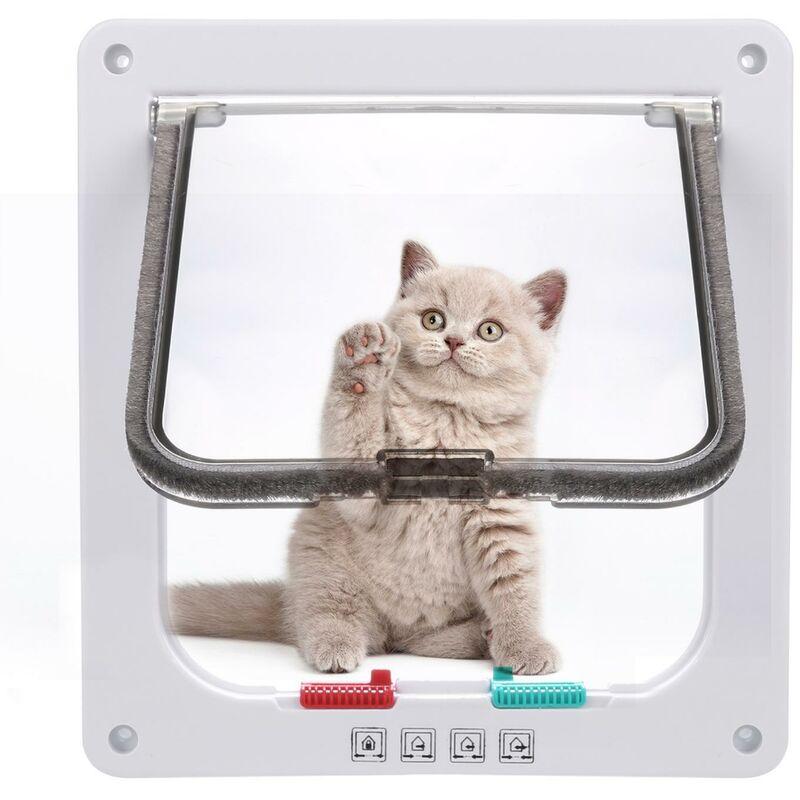 Double porte de chat verrouillable pour animaux de compagnie avec la manière télescopique de cadre 18 cm x 19.5 cm x 5.4 cm blanc - Blanc
