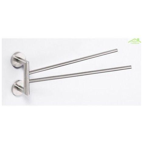 Double Porte-serviettes pivotant NEO en acier inoxydable 42x16x7cm
