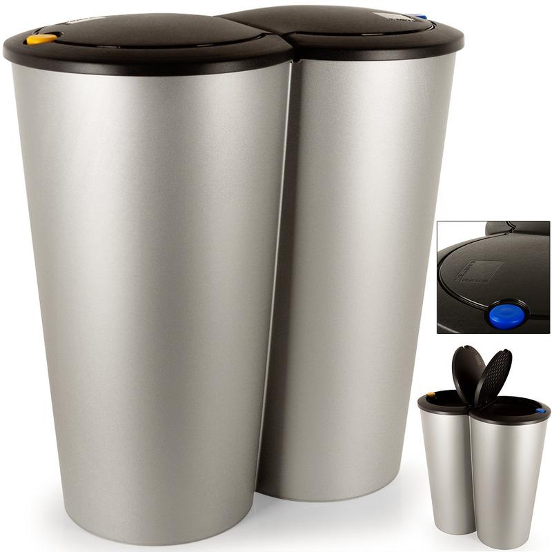 Elegant Double Poubelle 2x25 Litres Poubelle Duo Pour Tri Sélectif Recyclage  Bouton Poussoir Automatique 50x53cm   191475