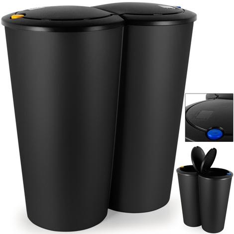 Double poubelle 2x25 litres Poubelle duo pour tri sélectif Recyclage bouton-poussoir automatique 50x53cm