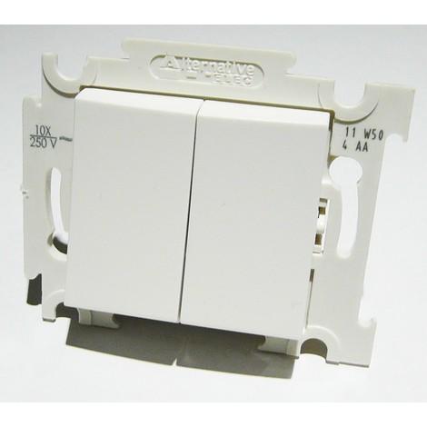 Double poussoir blanc 10A O/F 250V encastré connexion auto fixation vis sans plaque ALTERNATIVE ELEC AE52007