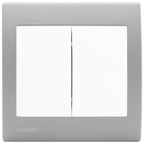 Double Poussoir Blanc Delta Iris + Plaque basic Silver - SIEMENS