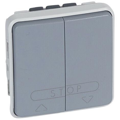 Double poussoir pour volets roulants Plexo composable IP55 10A 250V gris (069539)