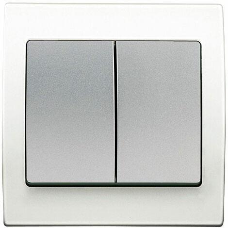 """main image of """"Double Poussoir Silver Delta Iris + Plaque basic Blanc - SIEMENS"""""""