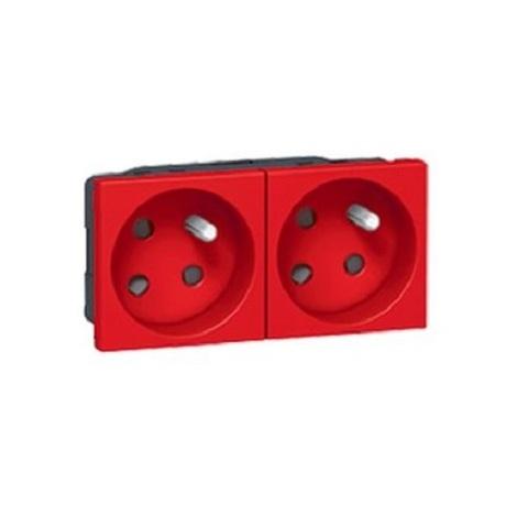 Double prise 2P+T détrompée 45° bornes auto 4 modules - Rouge - Legrand