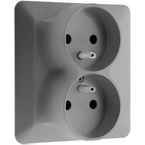Double prise 2P +T monoposte Titanium - Artezo