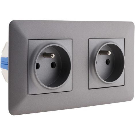 Double prise affleurante 2P+T 16A livrée avec boîte d?encastrement - Blanc ou Titanium