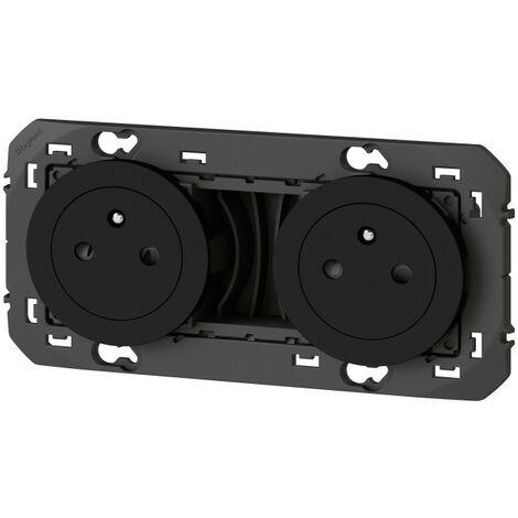 Double prise de courant 2P+T Affleurante Dooxie 16A précâblées - Noir - Legrand