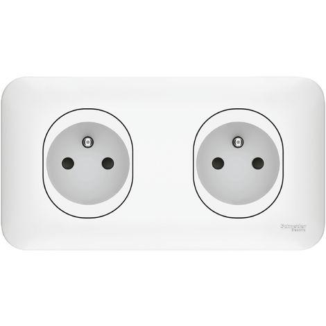 Double prise de courant 2P+T pré-câblée Ovalis - Blanc