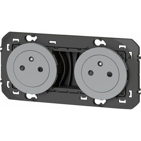 Double prise de courant 2P+T Précâblées - Affleurante Dooxie Aluminium - Legrand