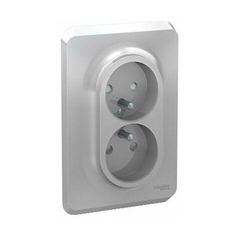 Double prise de courant 2P+T Unica - Complète - 16A - Alu