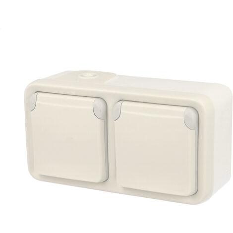 Double prise de courant avec terre précablée Plexo apparent horizontal - Blanc