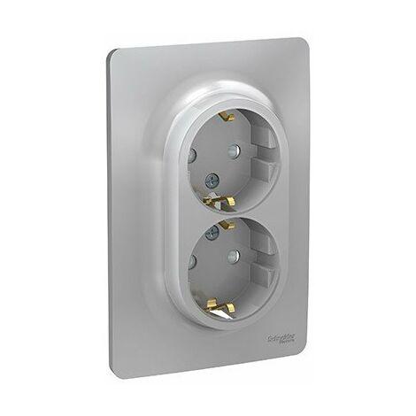 Double prise de courant complète Unica - Standard Allemand - 90° - 16A - Alu