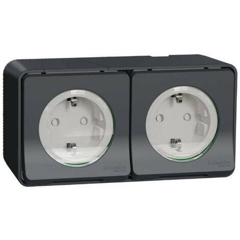 Double prise de courant schuko 2P+T IP55 IK08 - Saillie - Gris - Mureva Styl - Prise standard allemand