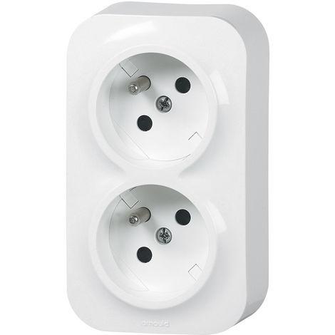 Double prise horizontale 2P+T saillie Profil Eco - Blanc