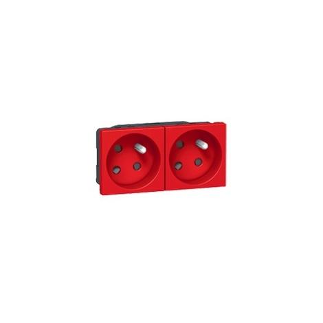 Double prise Mosaic 2P+T 45° bornes auto 4 modules - Rouge - Legrand