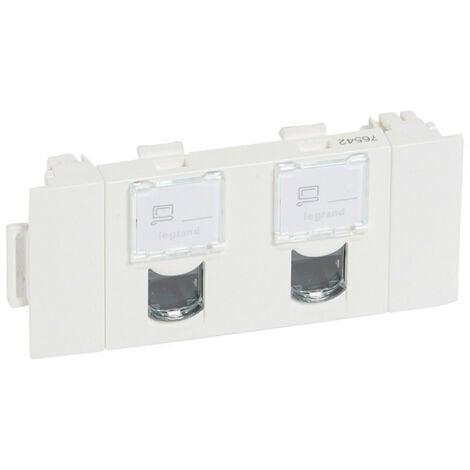 Double prise RJ45 catégorie5e FTP spéciale goulotte à clippage direct Mosaic 3 modules blanc (076542)