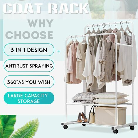 Double Rail Heavy Duty Metal Garment Hanger Rack For Clothes On Wheels And Shelf Bracket (With Mesh Storage)