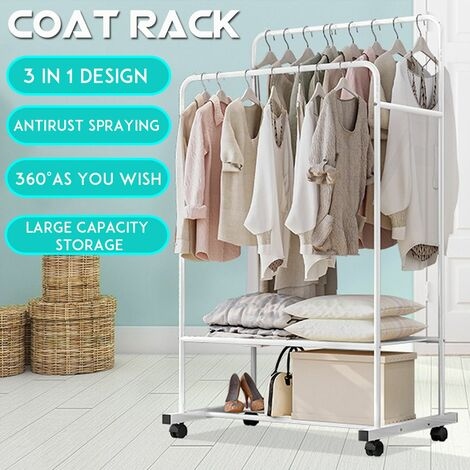 Double Rail Heavy Duty Metal Garment Hanger Rack for Clothes with Casters and Shelf Bracket (Without Mesh Storage)