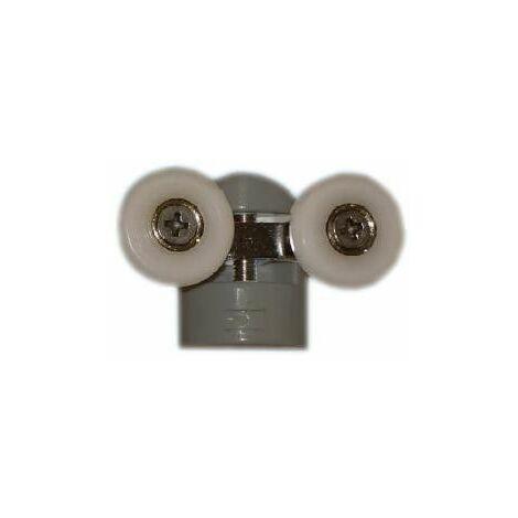 Double roulette ROU19 pour verre 6mm D.23mm L.58mm avec support gris