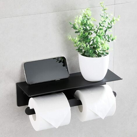 Double Self Adhesive Toilet Paper Door Roller Toilet Paper Without Bathroom Drilling and Black Matte Kitchen