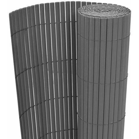 Double-Sided Garden Fence PVC 150x300 cm Grey - Grey