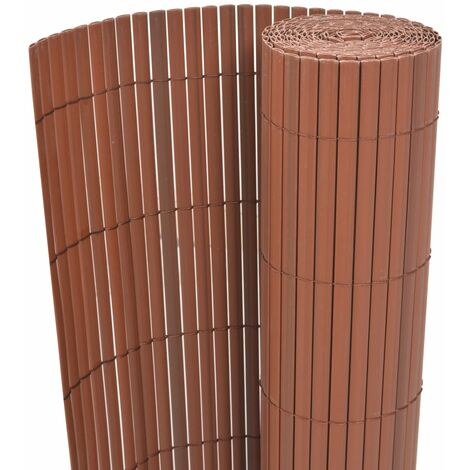 Double-Sided Garden Fence PVC 150x500 cm Brown