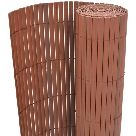 Double-Sided Garden Fence PVC 90x500 cm Brown