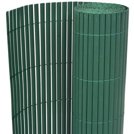 Double-Sided Garden Fence PVC 90x500 cm Green