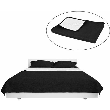 Double-sided Quilted Bedspread 230x260 cm Black and White