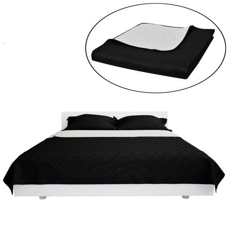 Double-sided Quilted Bedspread Black/White 170 x 210 cm