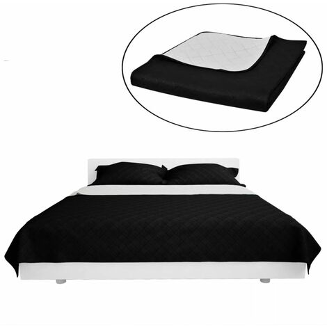 Double-sided Quilted Bedspread Black/White 170 x 210 cm VDTD00523