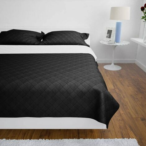 Double-sided Quilted Bedspread Black/White 230 x 260 cm QAH00525