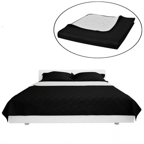 Double-sided Quilted Bedspread Black/White 230 x 260 cm VD00525