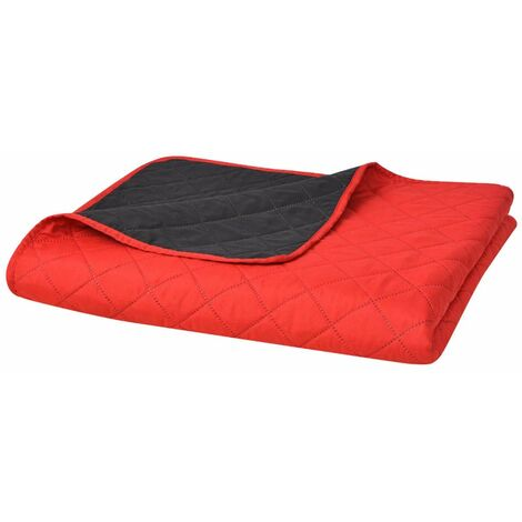Double-sided Quilted Bedspread Red and Black 170x210 cm