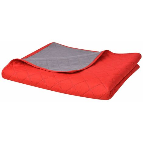 Double-sided Quilted Bedspread Red and Grey 220x240 cm