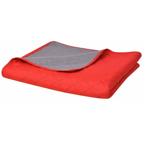 Double-sided Quilted Bedspread Red and Grey 230x260 cm