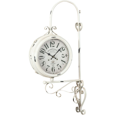 Double-sided wall clock station type iron finish white antiqued