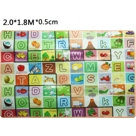 Double Sides Cartoon Crawling Mat Floor Cover Play Mat Rug Type B 2.0x1.8m