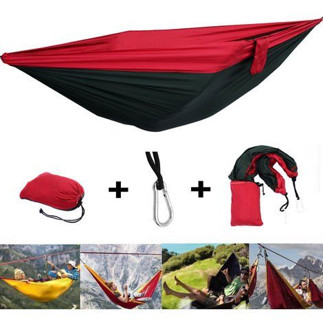 Double Size Fabric Hammock Outdoor Camping Picnic Patio Stylish Parachute Bed
