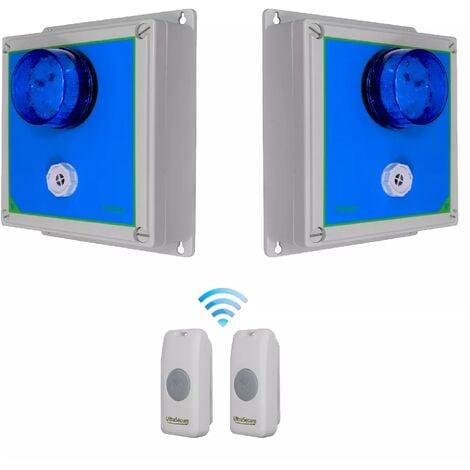 Double sonnette sans-fil 800m longue distance - 2 boutons autonome IP56 / 2 alertes flash sirène réglable (PROTECT 800)