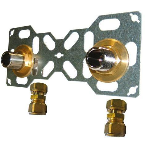 Double sortie de cloison mâle à compression pour tube per, Diam.16 mm 20 x 27 mm