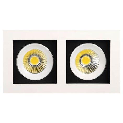 Double spot LED downlight blanc 2x8W (Eq. 2x64W) 2700K Dim. 185x100mm