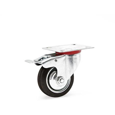 Double-stop swivel castor Ø75mm Rubber wheel 50kg load capacity lock brake Transport trolley