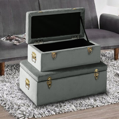 Double Storage Trunks Suitcase Stackable Fillable Box Chest Case Grey
