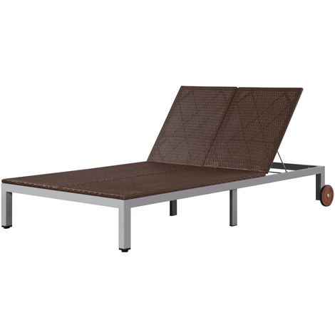 Double Sun Lounger with Wheels Poly Rattan Brown