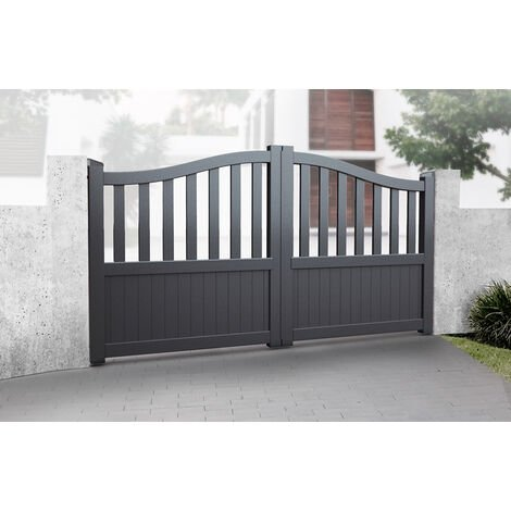 """main image of """"Double Swing Gate 3000x1600mm Grey - Partial Privacy Driveway Gate with Vertical Solid Infill and Bell-Curved Top"""""""
