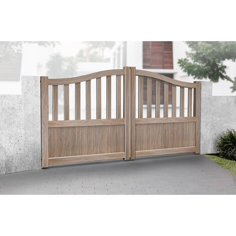 """main image of """"Double Swing Gate 3250x2000mm Wood - Partial Privacy Driveway Gate with Vertical Solid Infill and Bell-Curved Top"""""""