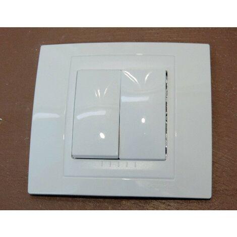 Double va et vient 10A blanc design connexion rapide complet avec support 2M et plaque UNICA
