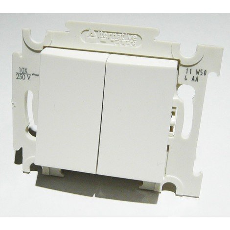 Double va et vient blanc 10A 250V encastré connexion auto fixation vis sans plaque ALTERNATIVE ELEC AE52002